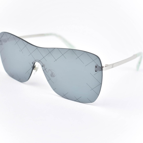 CHANEL Accessories - CHANEL Quilted Pilot: Silver CC Logo Sunglasses ss